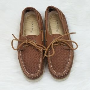 Sperry Top-sider woven leather boat shoes size 9